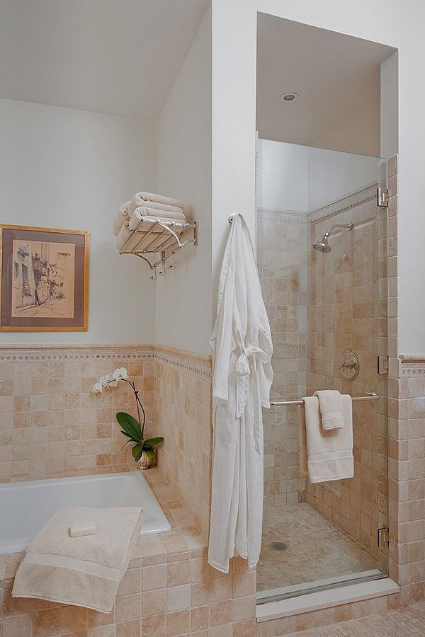 master bath -- add towel rack and bathrobe hook.