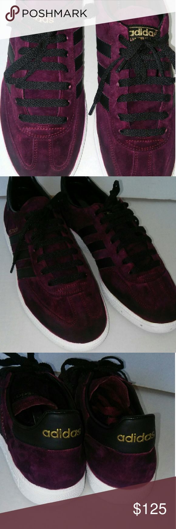 ADIDAS HANDBALL CUSTOM COLOR,  PLUM! ! These are a pair of 9.5 adidas handball, custom color, plum and gold, game!!!, nobody got this color adidas  Shoes Sneakers