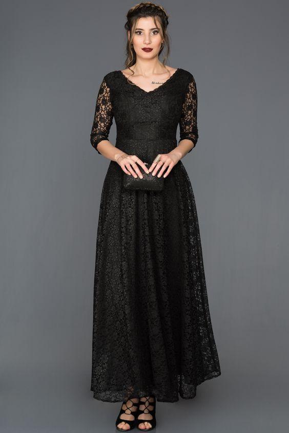 932b311aaf137 Siyah Dantelli Kapri Kol Elbise ABU335 | dugun elbiseleri | Siyah ...