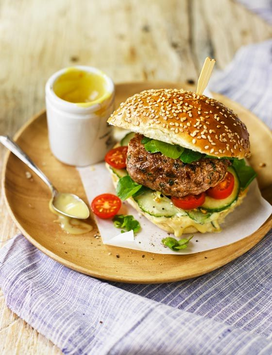 Veal and Parmesan burgers with anchovy mayonnaise