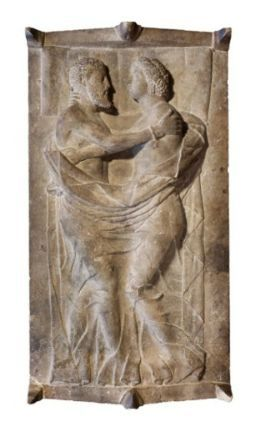 Sarcophagus and lid with husband and wife. Italic, Etruscan, late Classical or Early Hellenistic Period, 350-300 B.C. Museum of Fine Arts, Boston.