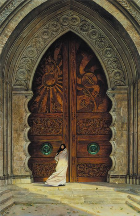 Large Wood Arched Carved Door