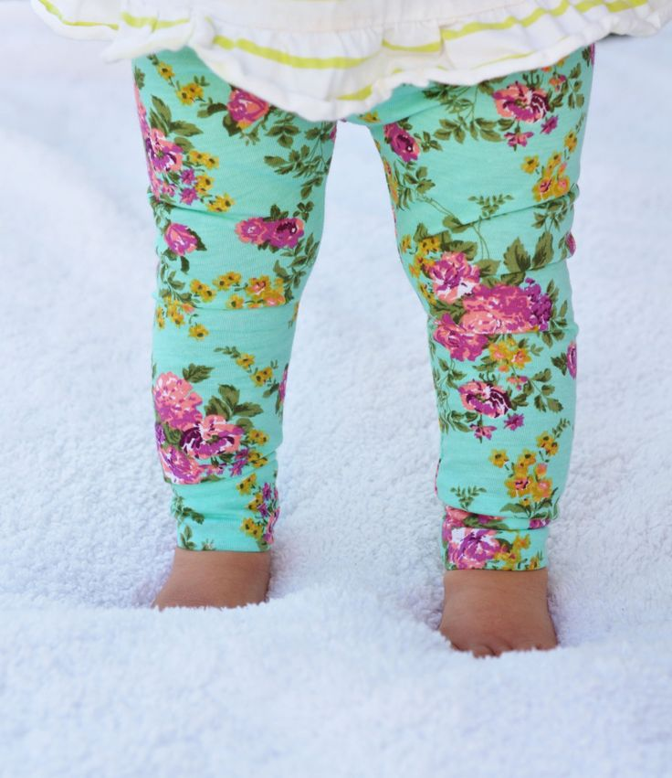 Baby Toddler Girl's Leggings Turquoise Pink Floral by ChubbsLeggings on Etsy https://www.etsy.com/listing/202575021/baby-toddler-girls-leggings-turquoise