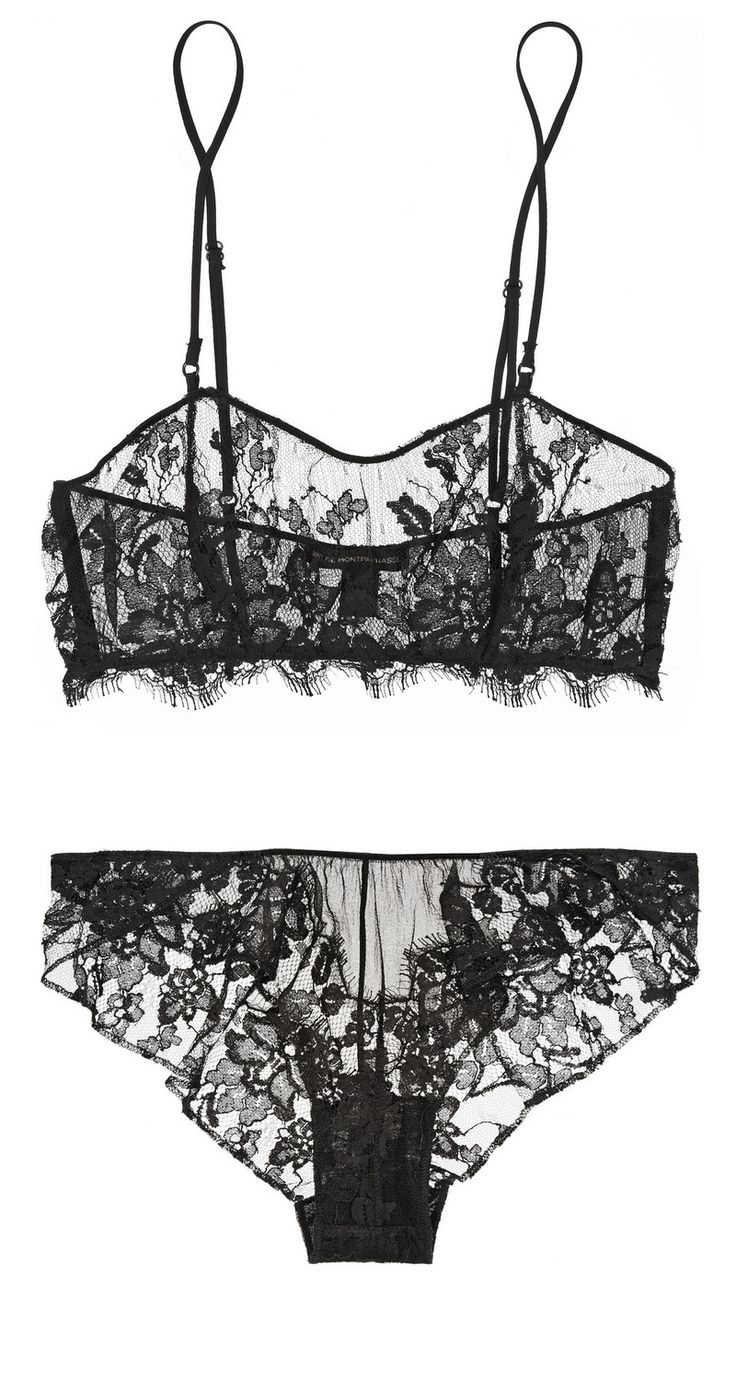 NET-A-PORTER.COM: KIKI DE MONTPARNASSE, Le Reve lace and silk-chiffon soft-cup bra and Le Reve lace-trimmed silk-chiffon briefs. Colour - black lace
