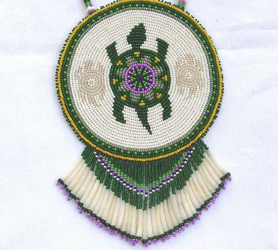 Turtle Spirit Large Beaded Medallion Necklace by RedbushArt, Lora Long-Sigler, Cherokee-Choctaw on Etsy