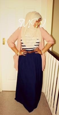 Modest hijab fashion mangowhirl maxi skirt long blazer nautical