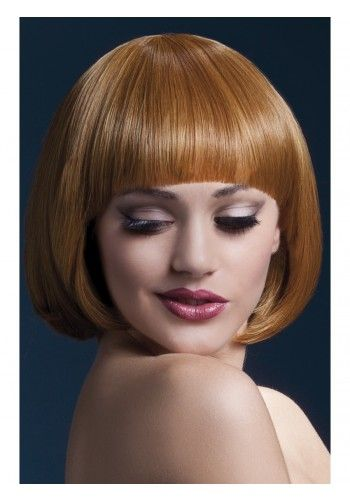 """JS 42400: MIA : AUBURN: 10"""" Short Bob with Fringe. Professional Quality. Adjustable Wig Cap with Faux Skin crown. To order: 519.371.1215 w/mjr cr cd or www.fantasylandproducts.com  for pricing **Each PROFESSIONAL WIG listed has HIGH-TEMPERATURE Resistant properties -- Designed to withstand heated styling appliance temperatures in excess of 248F/120C*. Straighten, cut, volumise, curl, wash these wigs with ease."""