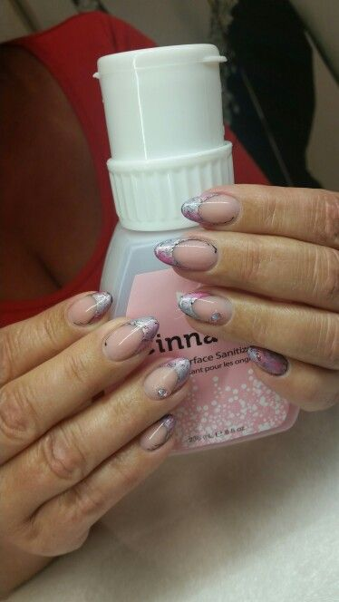 Foil, pink, grey and diamonds :)