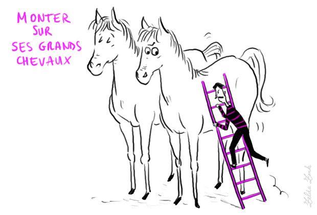 Monter sur ses grands chevaux : s'emporter, le prendre de haut                                                                                     Se mettre en colère et parler avec autorité, prétention