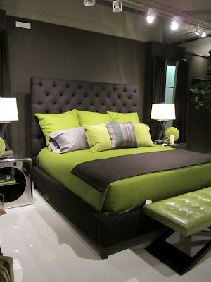 Charcoal and Lime bedroom