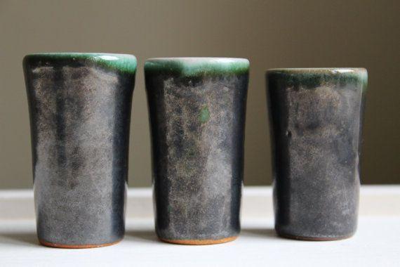 6 Scandinavian Pottery Shot Glasses. Vintage Ceramic Miniature