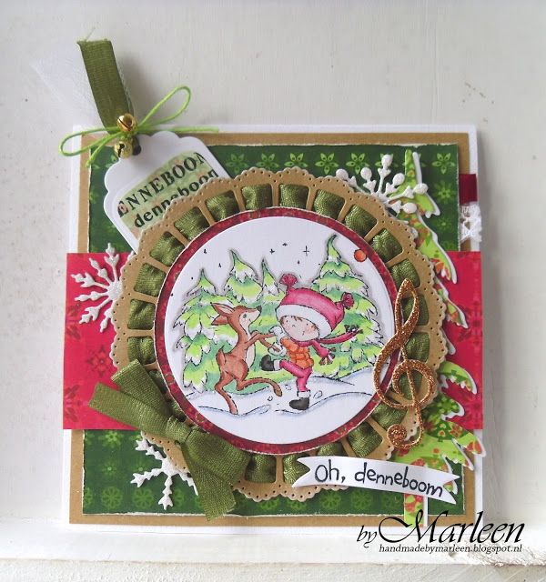 Handmade card by DT member Marleen with Clear Stamp Don & Daisy Dancing with Deer (DDS3353), Collectables Banners & Text Christmas (COL1325), Ribbon Doily with Roset (CR1350), Creatables Clef (LR0167), Spar (LR0378) and Ice Crystals (LR0393) from Marianne Design