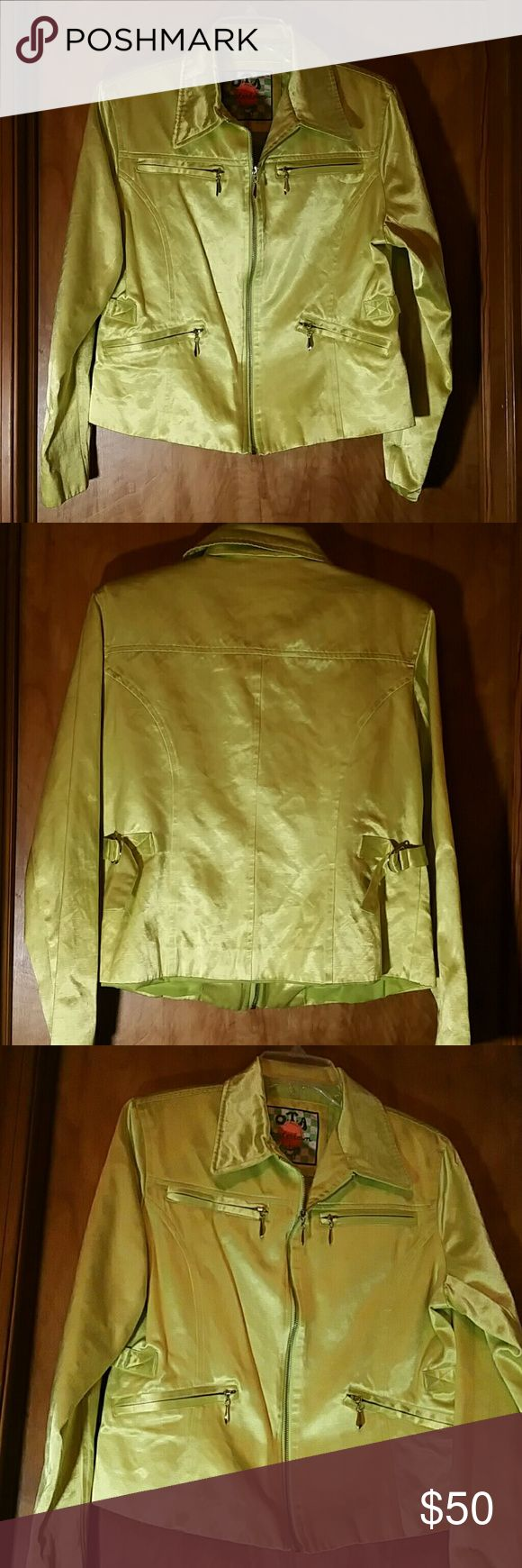 Lime Green Satin Jacket Spring has sprung! Unique vintage jacket in a lovely satin material. Silver zippers, 4 pockets, fully lined, no snags or tears. It will certainly get you noticed! Other