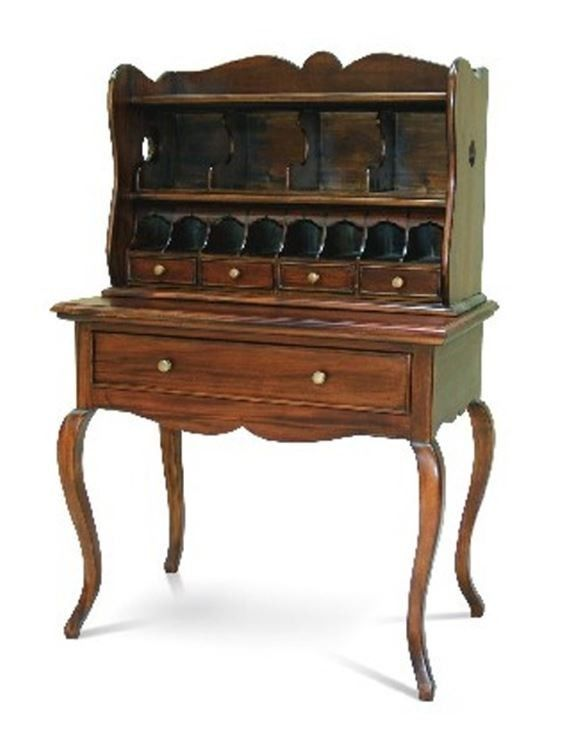 Antique French Style Solid Mahogany Wood Writing Desk