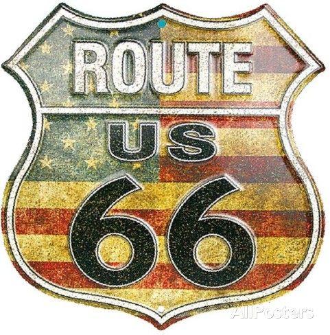 Route 66 Stars And Stripes Cartel de chapa