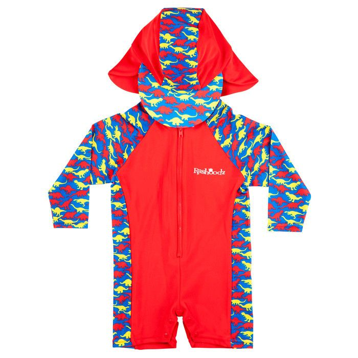 The Jurassic design long sleeve baby swimsuit and hat set by Rashoodz Australia available at Small to TALL