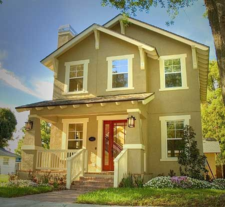 122 best small house plans images on pinterest for Craftsman home plans for narrow lots