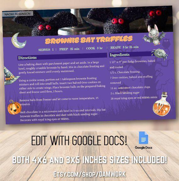 Halloween Fun Theme Recipe Card Template 4x6 And 3x5 Inch Etsy Recipe Cards Template Recipe Cards Family Recipe Cards