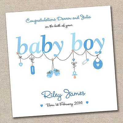 #Personalised new baby boy handmade #greeting card #congratulations on the birth,  View more on the LINK: 	http://www.zeppy.io/product/gb/2/221140836505/