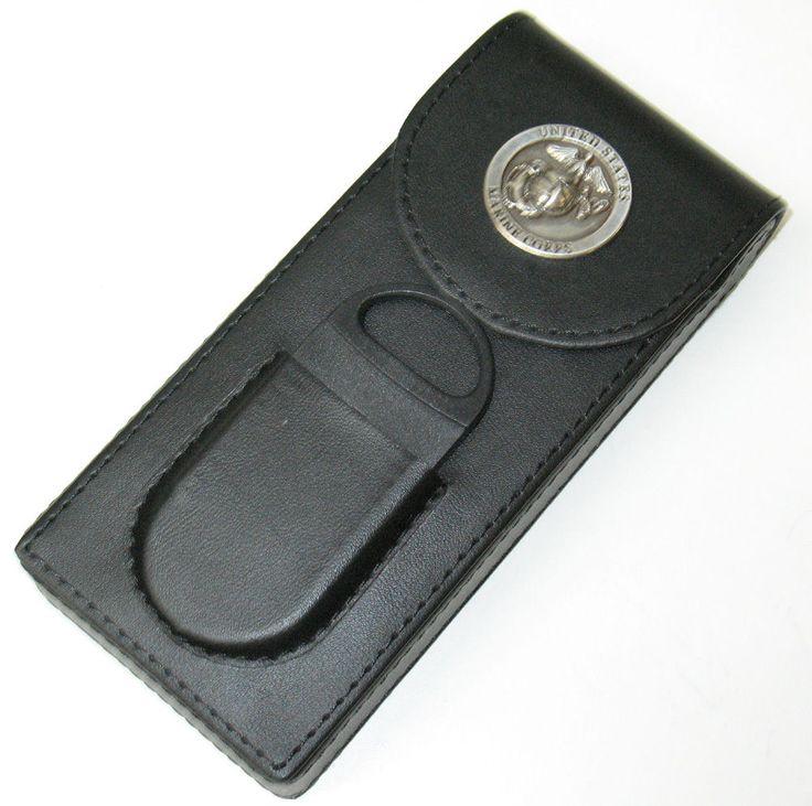 FlipTop US Marines Black 3 Cigar Travel Case w Cutter & Pocket SPECIAL ORDER