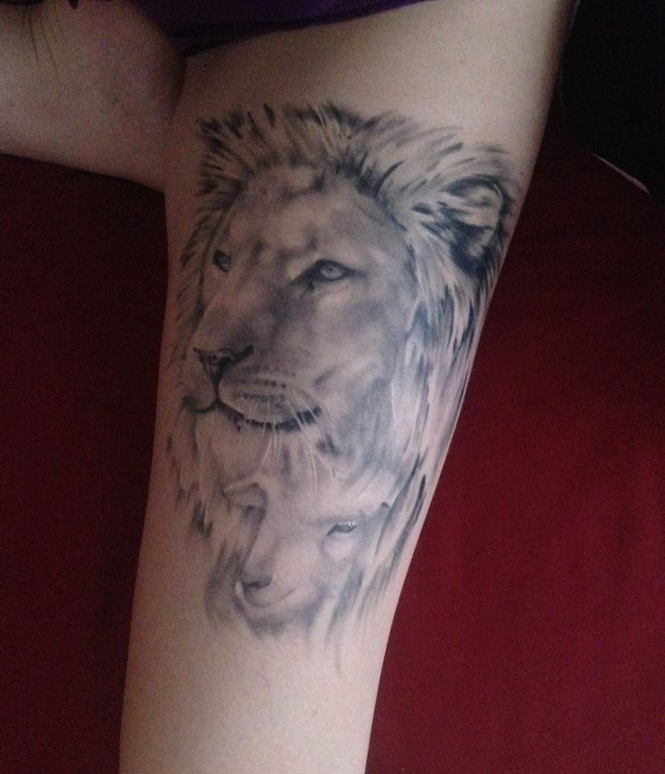 Lion and Lamb - Kim Dibble. By Kye Stacey at Exclusive Tattoos Studio, Street- England.
