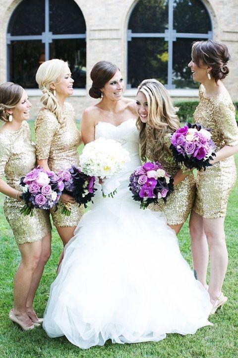 Glittery bridesmaids // 43 Striking Sequin Bridesmaids' Dresses | HappyWedd.com