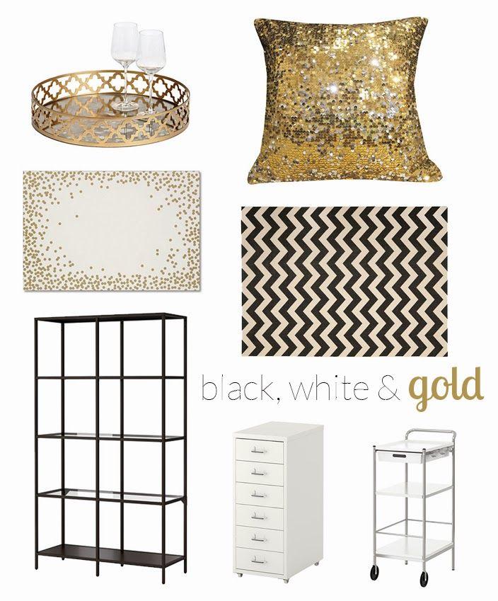 Wednesday Wishlist Black White Gold Decor Allglammedup Home Sequins Decorations