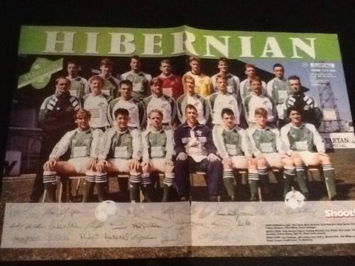 #1990s a3 football team poster hibernian + arsenal with #printed #signatures,  View more on the LINK: 	http://www.zeppy.io/product/gb/2/161974574724/