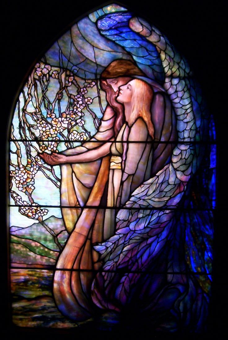 Franklin art glass studios inc clear cotswold glass 3 320 -  Guiding Angel Stained Glass Panel Tiffany Glass Decorating Company C 1890 Photo By Dreamsdarkly
