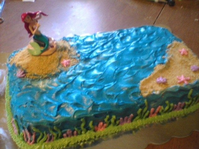 Ariel Cake Topper On Gram Cracker Sand With Blue Ocean Waves