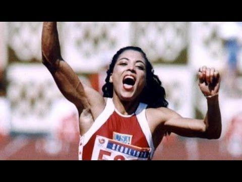 Florence Griffith Joyner sets a world record on 200m 1988 Olympics Seoul...