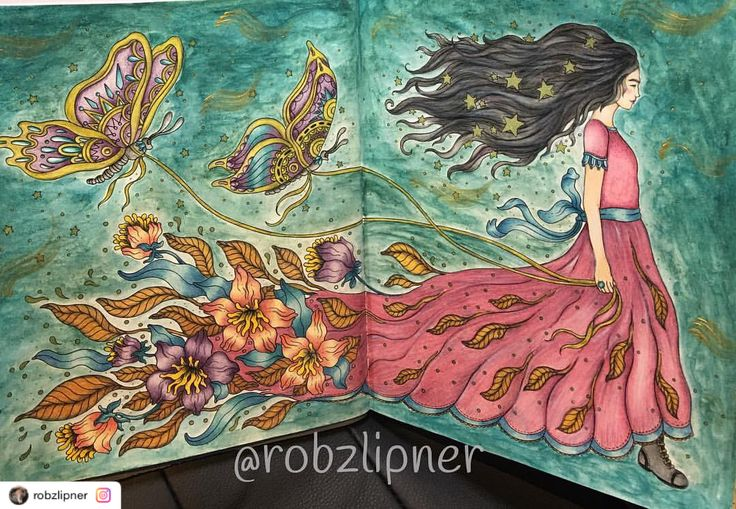 """Reposted using @ziapplications  #ziapplications ・・・ """"Magisk Gryning using Holbeins and Derwent artbars for the background with a touch of gold acrylic paint #art_e_colorir #bayan_boyan #wonderfulcolouring #magiskgryning #hannakarlzon #derwentartbars #holbeinpencils"""""""