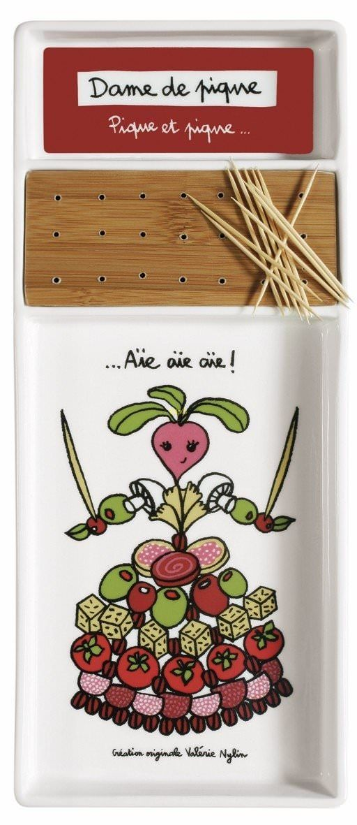 Plateau apéro (+ porte-piques) PIK Dame de piques - Derrière la Porte - DLP - Accessoire cuisine et rangement/Plateau repas design - espritl...