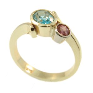 9ct Yellow Gold Blue Topaz & Pink Tourmaline Ring, handmade at Cameron Jewellery