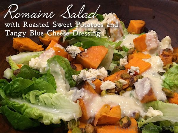 Romaine Salad with Sweet Potatoes and Tangy Blue Cheese DressingBlue Cheese, Creamy Cheese, Dresses November, Cheese Dresses, Roasted Sweets, Roasted Sweet Potatoes, Bleu Cheese, Goats Cheese, Sweets Potatoes