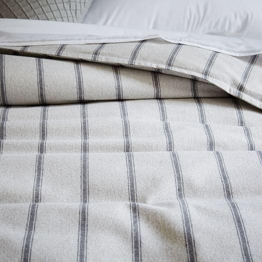 Flannel Stripe Duvet Cover + Shams - Tuxedo Stripe | west elm