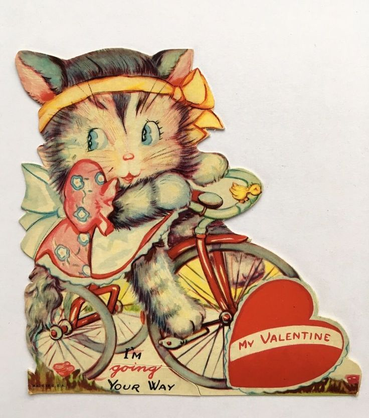 Vintage Valentine Card Die Cut Kitty Cat Pink Dress Tricycle Bike Bow Heart Bird
