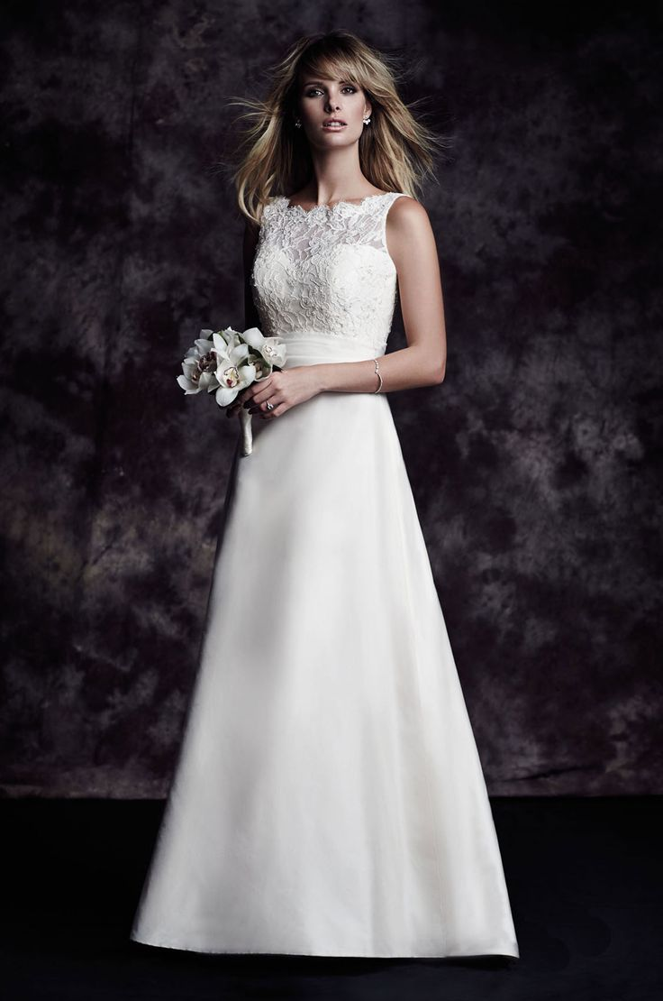 4617 | Paloma Blanca | French Alencon Lace/Silk Dupioni A-Line Wedding Gown With Removable Sash At Waist^^^^