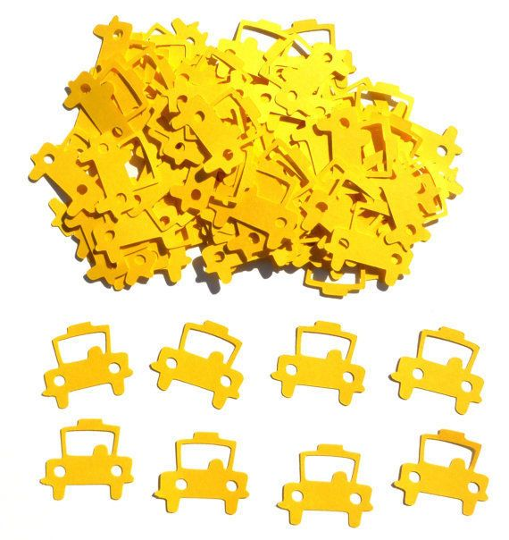 Yellow Taxi Cab Themed Party Confetti Set of 100 Assorted Pieces New York City