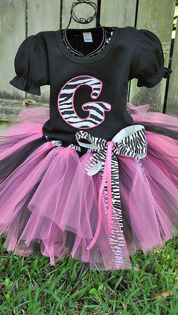 Zebra Tutu Outfit Hot pink and black by tutticutesytutus on Etsy