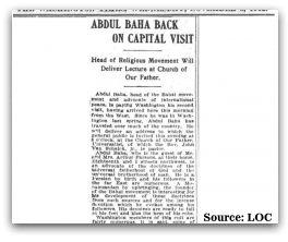 'Abdu'l-Bahá Back on Capital Visit: General Public, Abdul Baha, Daily Centenarian, Centenarian Click, Press Coverage, Capitals Visit, Second Visit, 1912 Press, Washington November
