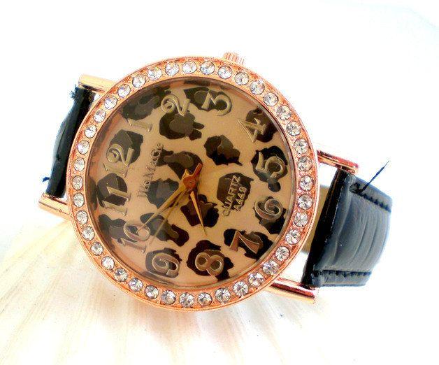Armbanduhr Uhr Leo rose gold  womans watch leather black von JaquisaSchmuck auf Etsy