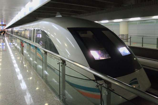 Shanghai Maglev Train - Moment Editorial/Getty Images Shanghai Maglev Train       This train was the first commercially operated high-speed train built using magnetic levitation technology. Connecting Shanghai Pudong International Airport to Longyang province, it has a top operational speed of 267 mph.
