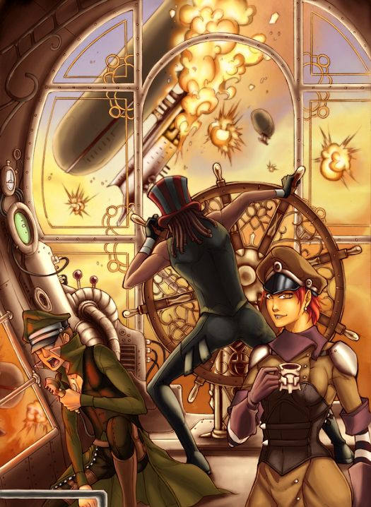 Steampunk Coloring Book By Uber Goober Games : Steampunk trash cover aero monde