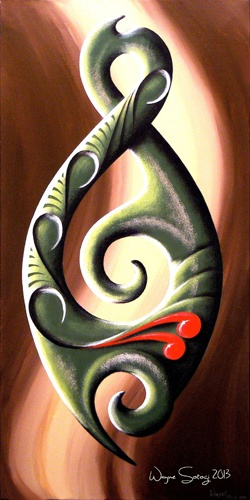 "This is a acrylic art print finished on 18"" x 36"" gallery canvas, with black sides, ready to hang. It features iconic Maori and Polynesian art styles from New Zealand (Aotearoa) and the Pacific Islands."