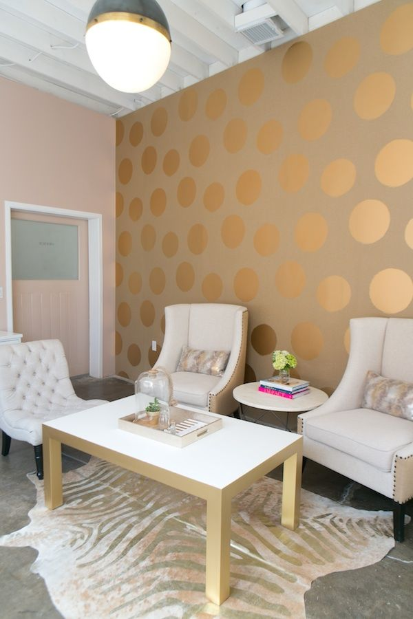 Gold polka dot office wall.