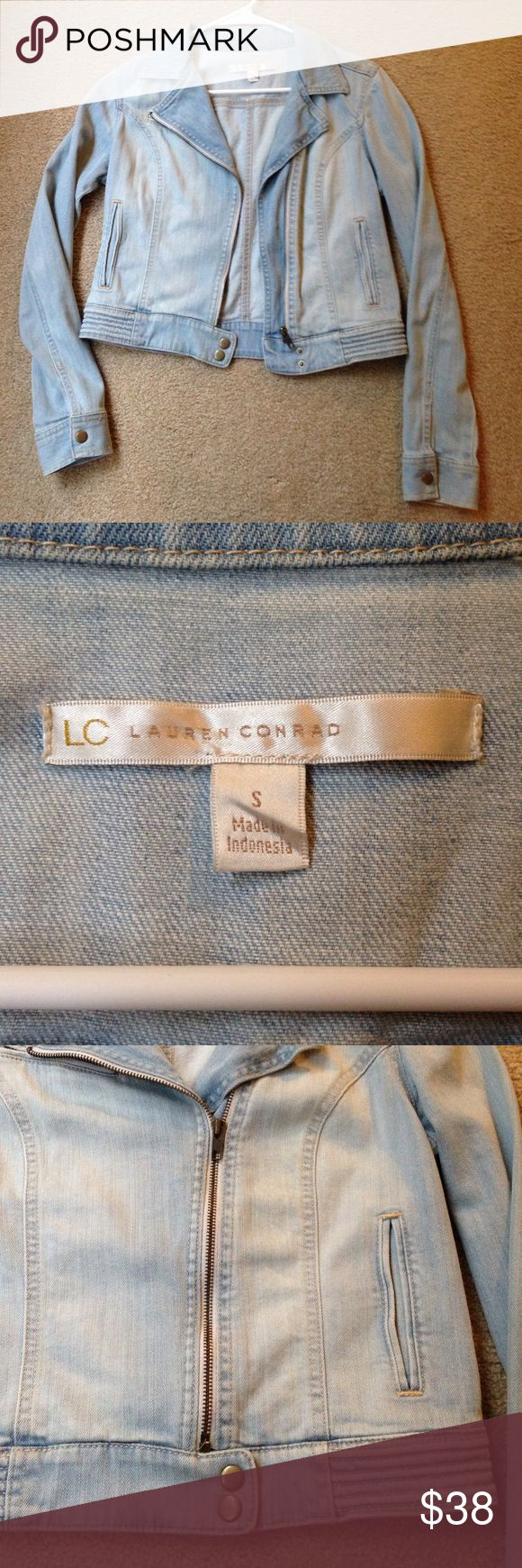 Lauren Conrad Light Wash Denim Jacket Light wash slightly cropped denim jacket. In great like-new condition. No visible signs of wear. Nice thick, sturdy material. 🌸 LC Lauren Conrad Jackets & Coats Utility Jackets