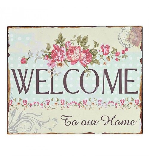 METAL WALL PAINTING 'WELCOME' 25X20_40