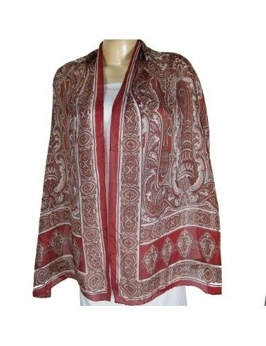 Foulard rouge en soie à décor peint à la main - Mode fille - 55 cms x 182 cms: Amazon.fr: Vêtements et accessoires