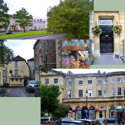 Clifton Village scenes, clockwise from top left, terrace of Georgian townhouses on Sion Hill, doorway on Caledonia Place, shops along The Mall, The Coronation Tap cider house abd treats from The Mall Deli. (Click to enlarge)